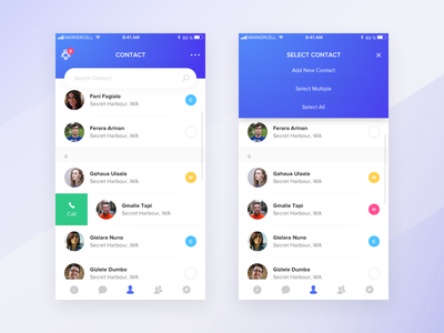 Contact Management App list thumbnail people screens two blue minimal bot number phone contact design management app mobile ui