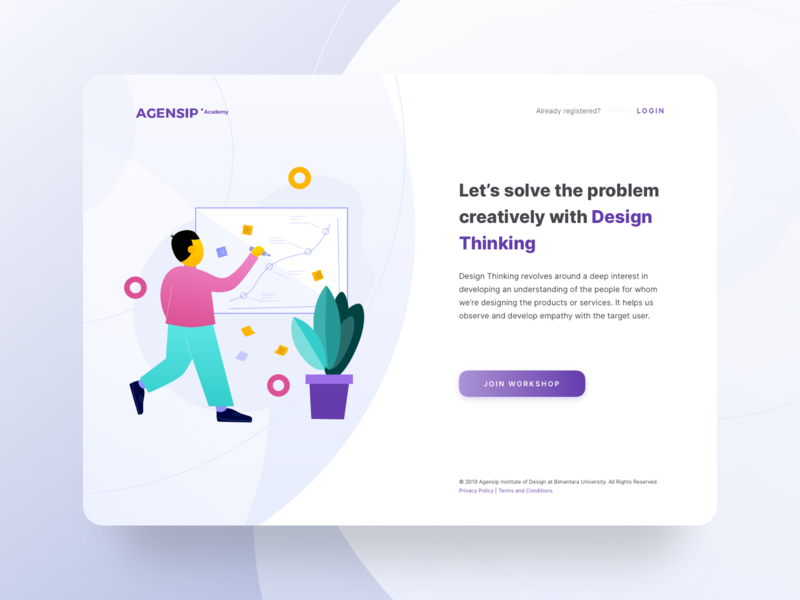 Design Thinking Workshop Join Page class product building team people 2d illustration flat login course web page thinking design workshop join registration landing app ui