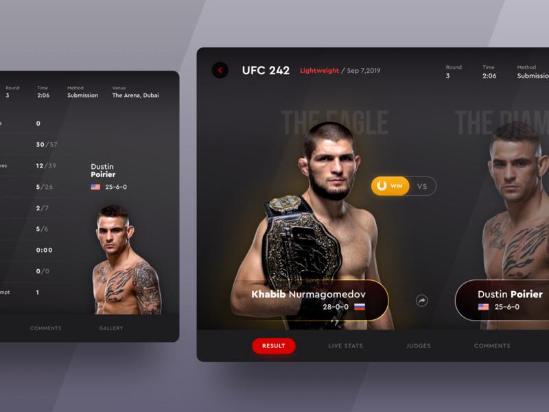 UFC 242 Fight Result on iPad App win vs ux ui ufc tournament stats sport result mma menu match khabib ipad ios fight design dark boxing app