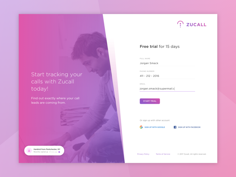 Zuucall Web Login and Signup Page front form signup uidesign landing intro web login landingpage ux app ui