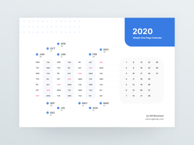 2020 One Page Calendar Freebies