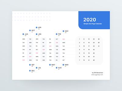 2020 One Page Calendar Freebies agensip monday sunday number graphics blue print design flat simple month year newyear design date print calendar design 2020 calendar