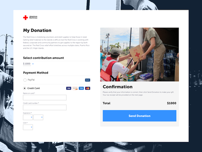 American Red Cross: Credit Card Checkout - 002 charity cross red donations nonprofit visa ux ui register dailyui credit card