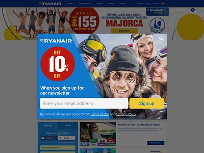 Ryanair Popup - Daily UI 016 newsletter popup modal overlay dailyui 016