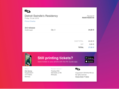 Resident Advisor Receipt Redesign - 017 report receipt paypal payment financial finance email dailyui check