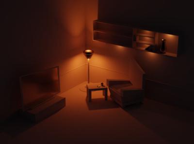 Dark version of the room modelling 3d blendercycles blender3d blender