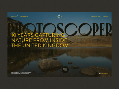 Photoscoper Homepage photography logo branding brand typography portfolio design ux ui