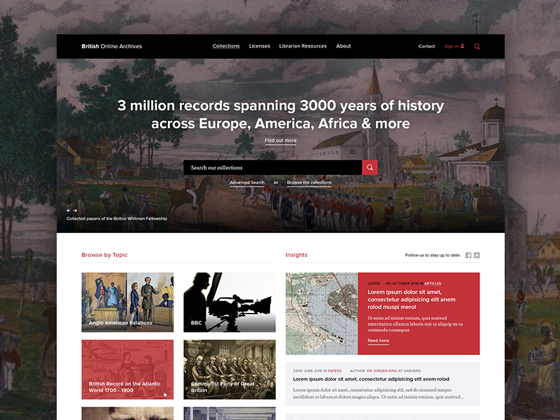 BOA Redesign history archive web redesign british online archives