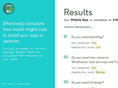 Appstimator ux ui design gatsby react figma calculator cost app web
