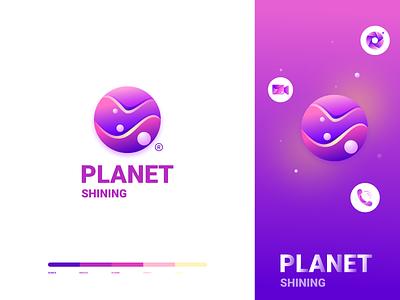 Shining planet icon logo