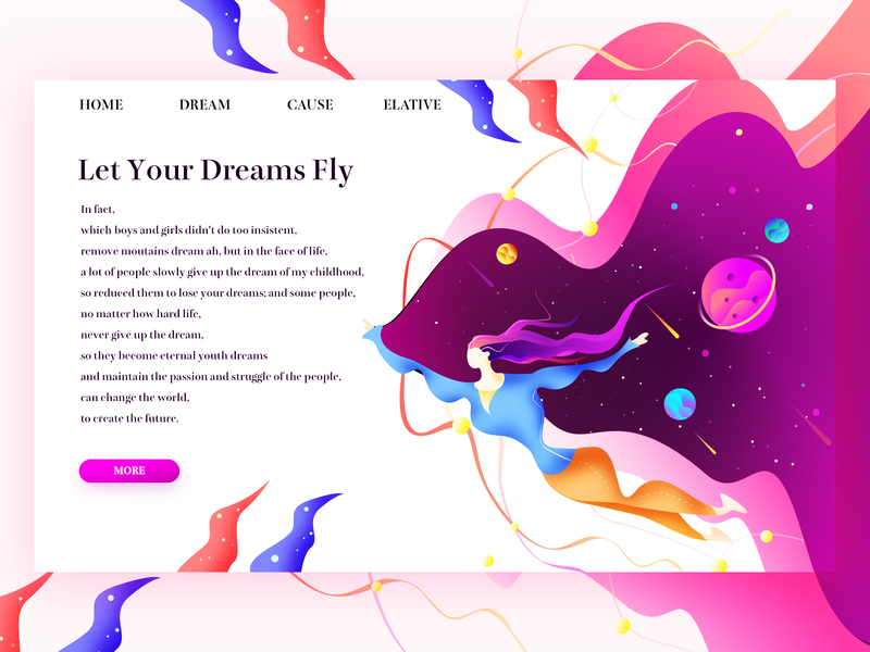 Let your dreams fly space age ux 平风 插图 设计 ui