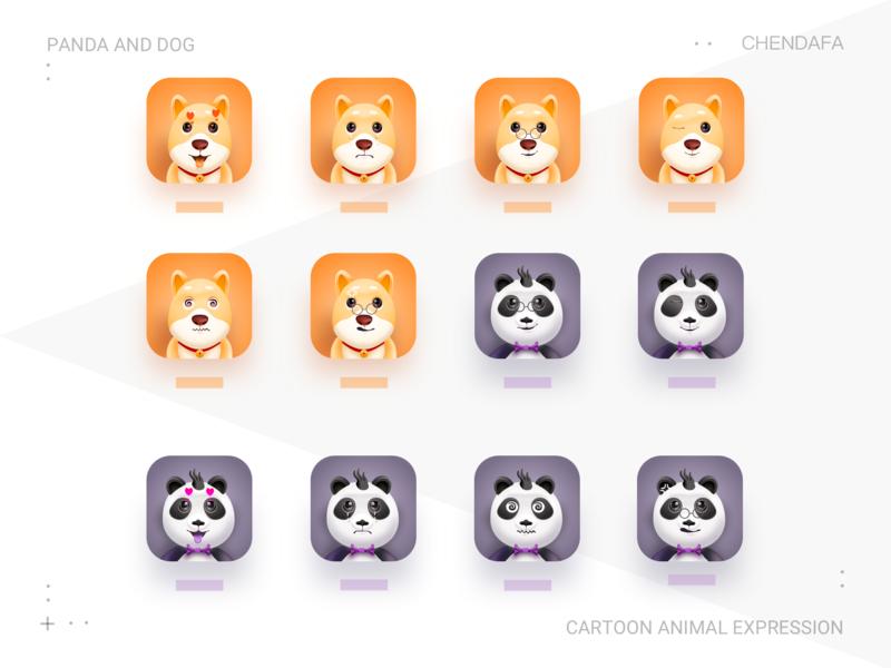Panda and dog expressions sketch icon ux expressions dog panda
