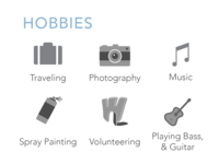 Hobbies Icons for CV