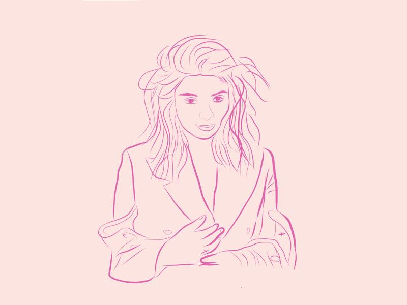 Lorde - Quick Line Sketch pink line art sketch drawing ipad apple pencil illustrator draw illustration