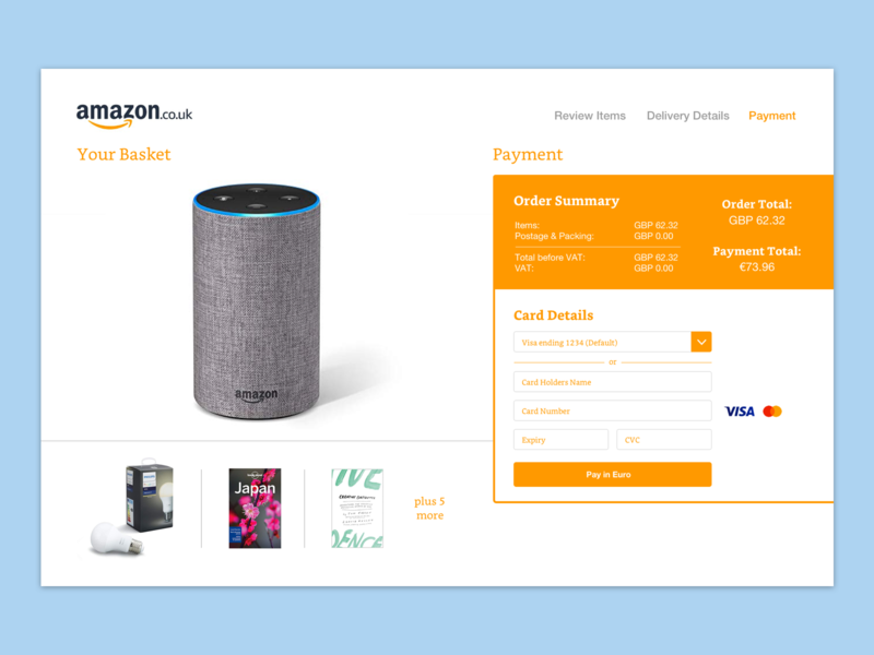 Daily UI Day 2 - Amazon Checkout concept mockup card payment checkout amazon checkout amazon daily 100 challenge daily 100 daily ui 002 daily ui design