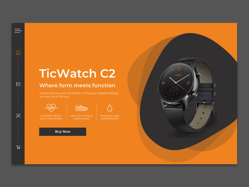 Daily Ui Day #003 Tic Watch C2 Landing Page sketch app design ui watch orange landing page design landing page concept landing page daily ui challange daily ui daily ui 003