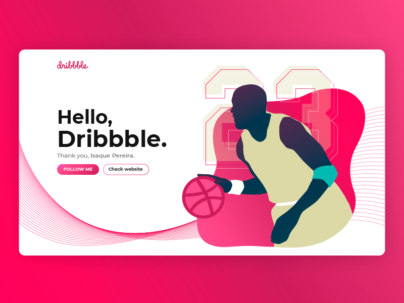 Hello, Dribbble. debuts website site basketball landing page flat vector design illustration