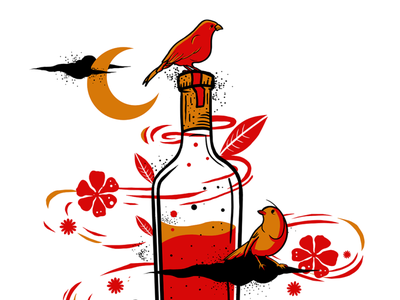 wine_5 colorful colors birds wine bottle wine graphic design illustration