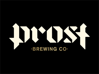 Prost brewing logo identity blackletter typography wordmark logo branding german colorado denver brewing brewery beer