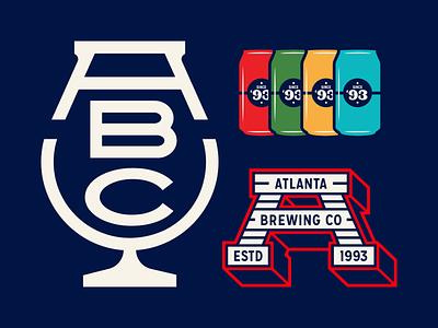 Atlanta brewing branding monogram icon illustration atlanta georgia brewing can beer a mark