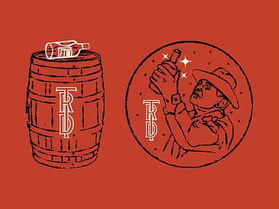 Three rivers distilling artifacts barrel liquor monogram illustration branding distillery distilling