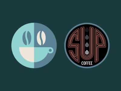 Coffee artifacts type wordmark logo mark coffee neon illustration identity signage branding badge