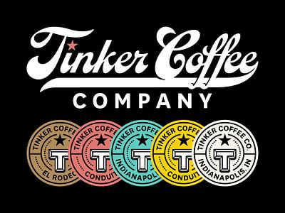 Tinker coffee artifacts wordmark logo identity branding badges badge indianapolis typography type script local coffee tinker