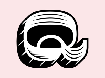 Q vector lettering typography type mark identity restaurant branding pink illustration letter q letter q