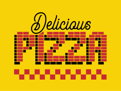 Delicious pizza black yellow red pie college restaurant identity tile script branding typography type lettering pizza