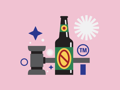 Beer design and the law 1 vector brewing brewery design editorial pink bottle illustration gavel lawyer law packaging label beer