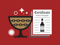 Beer design and the law 2 documents paper legal chains bottle red illustration certificate law brewing brewery beer challice goblet