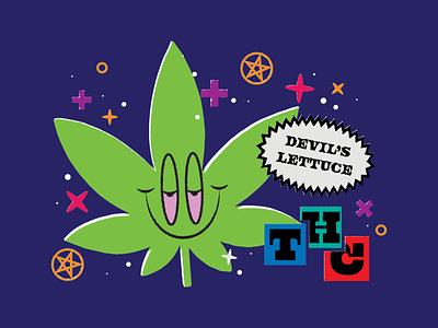 Devil's lettuce packaging trends pentagram pot cannabis marijuana weed thc typography lettuce devil illustration