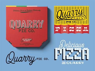 Quarry pie co branding 2 university sign signage typography script box logo identity restaurant pizza indiana quarry pie branding