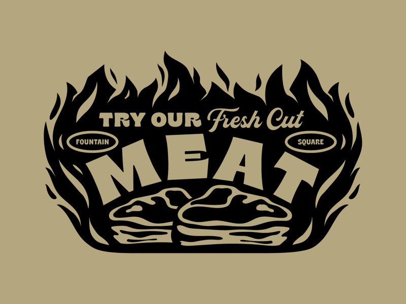Turchetti's artifacts 1 butchery market shop fire illustration butcher indianapolis indiana flames typography butcher shop steak meat
