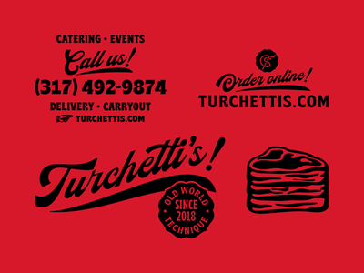 Turchetti's artifacts 2 red butcher shop shop stamp butcher meat steak indiana indianapolis badge script branding typography illustration