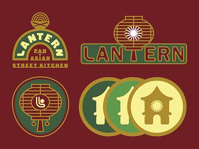 Lantern pan-asian street kitchen 2 icon mark monoline indianapolis indiana gold badge logo wordmark typography lantern illustration restaurant street kitchen branding asian pan-asian