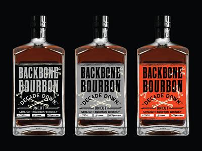 Backbone bourbon labels anniversay decade whiskey orange grey black typography type tennessee distillery liquor bones label bourbon