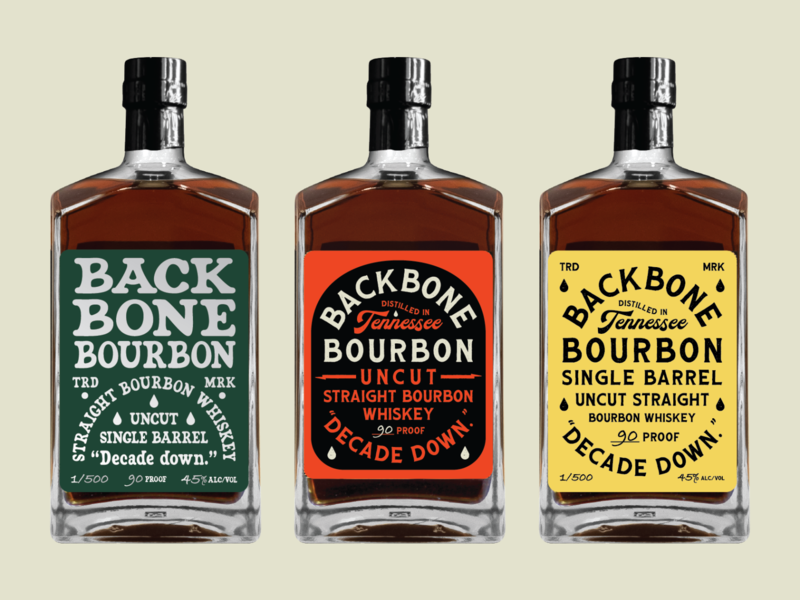 Backbone bourbon graveyard labels alcohol liquor yellow black orange green type typography anniversary tennessee whiskey labels label graveyard bourbon