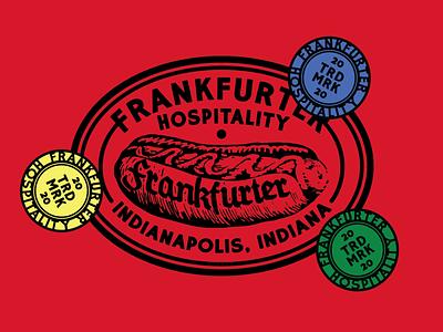 Frankfurter hospitality branding indianapolis indiana restaurant food hospitality hotdog sticker mark logo identity illustration branding