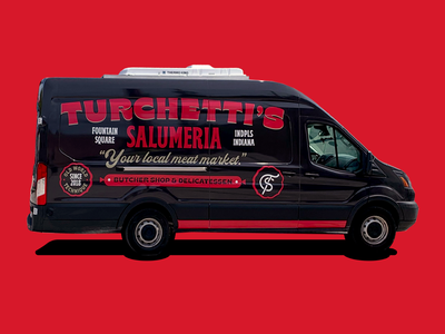 Turchetti's van restaurant identity branding red badge indianapolis indiana delicatessen butcher shop market meat salumeria typography wrap van