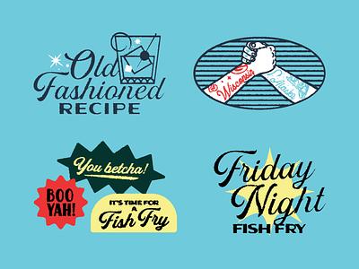 Friday night fish fry 2 typography recipe script illustration stickers branding supper cub alaska wisconsin fry fish night friday
