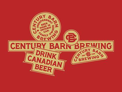 Ontario brewery 1 cb monogram typography identity branding indianapolis indiana canadian beer badge barn century brewing canada brewery ontario
