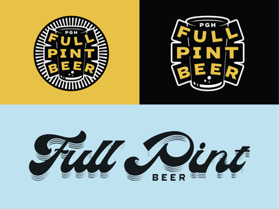Pittsburgh brewery branding blue black yellow indianapolis indiana glass logo identity script type badge illustration branding beer pint brewing brewery pennsylvania