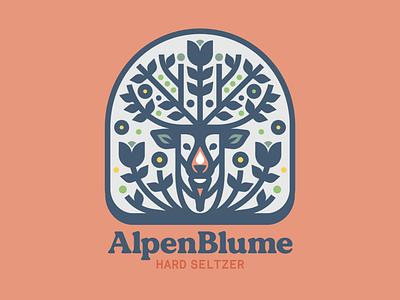 Alpenblume hard seltzer 2 vector design brewing typography colorado denver deer wordmark icon hard seltzer seltzer hard beer logo illustration badge identity branding