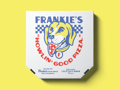 Frankie's pizza box restaurant food packaging identity midwest indiana indianapolis yellow dog delivery parlor typography illustration branding box pizza