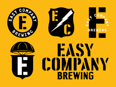 Easy company brewing 2 military patch typography beer stencil c e parachute logo mark icon badge branding brewery brewing