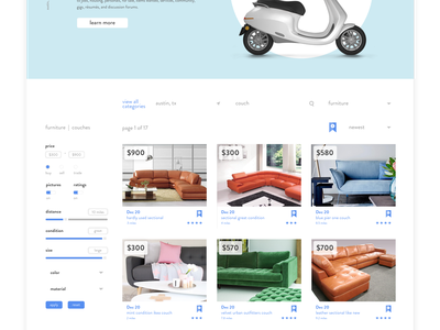 Craigslist Redesign — Concept circle trade sell buy page splash interactive layout clean craigslist color redesign