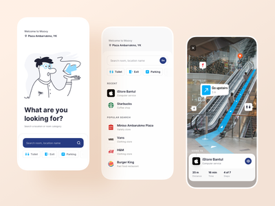 Moovy - AR Navigation App app userinterface exploration concept clean mobile app ui line illustration map gps ar app augmented reality