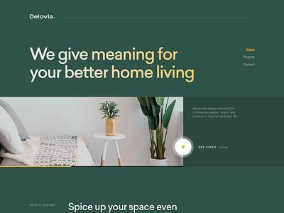 Delovia - Interior Design Studio architecture homeliving decor interior exploration concept minimal web design landing page clean website ui