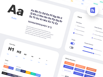 Heylink - UI Style Guide ui elements mark logotype brand ads marketing publisher automation monetize color palette colors fonts ui style guide logo